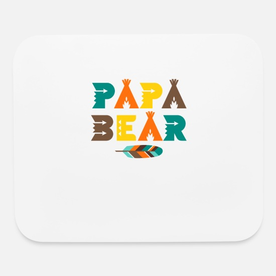 Day Mouse Pads - Papa Bear T-Shirt - Indian Feather Tipi Tent Dad - Mouse Pad white