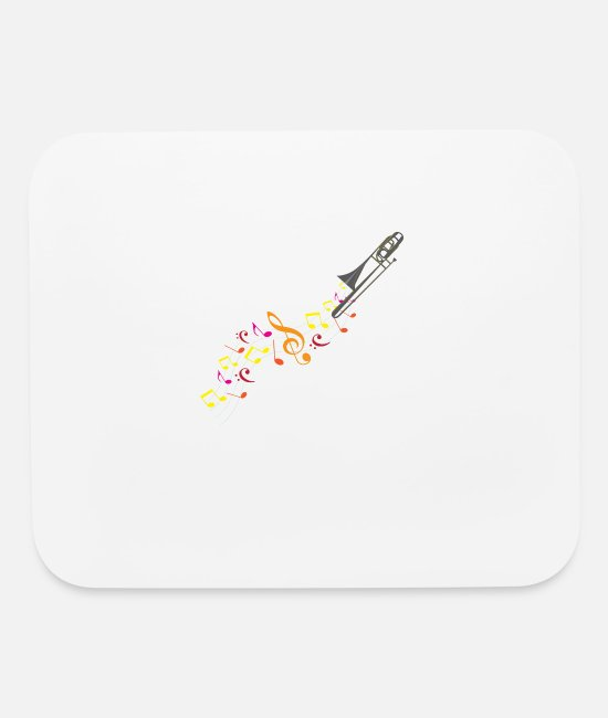 Trombone Mouse Pads - Trombone And Musical Notes - Mouse Pad white