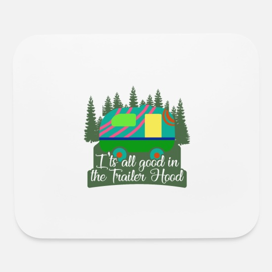 Trailer Mouse Pads - Camper Camping Tshirt with Caravan Trailer Hood - Mouse Pad white