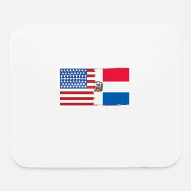 Usa Half Dominican Half USA Flags - Mouse Pad