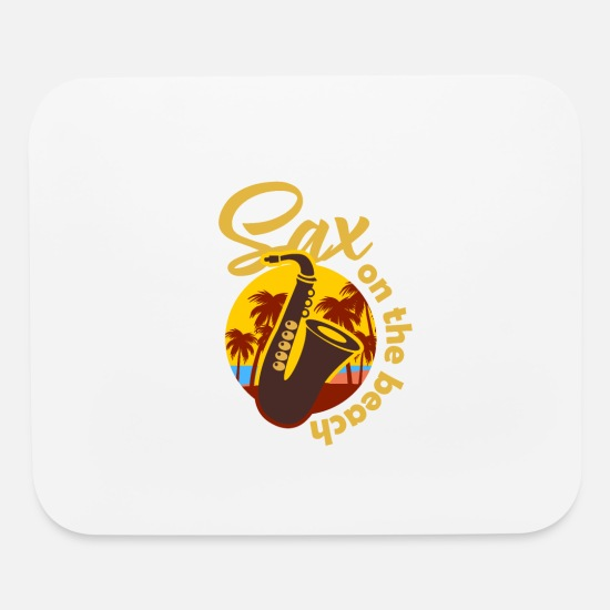 Beach Mouse Pads - sax on the beach saxophone saxophonist gift - Mouse Pad white