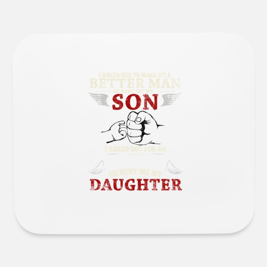 Father Son Daughter Statement Family Quote Funny Mouse pad Horizontal -  white