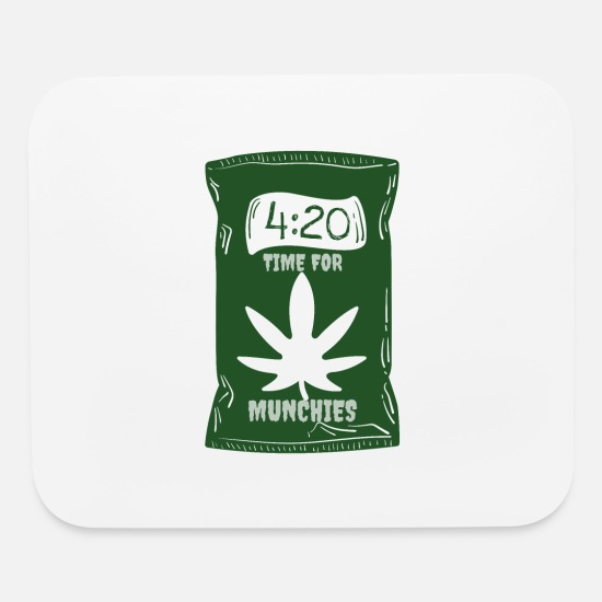 Pothead Mouse Pads - Time for Munchies | 420 Pot Leaf - Mouse Pad white