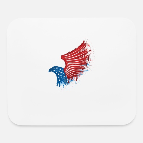 4th of July print 'Murica Red White Blue Eagle Mouse pad Horizontal - white