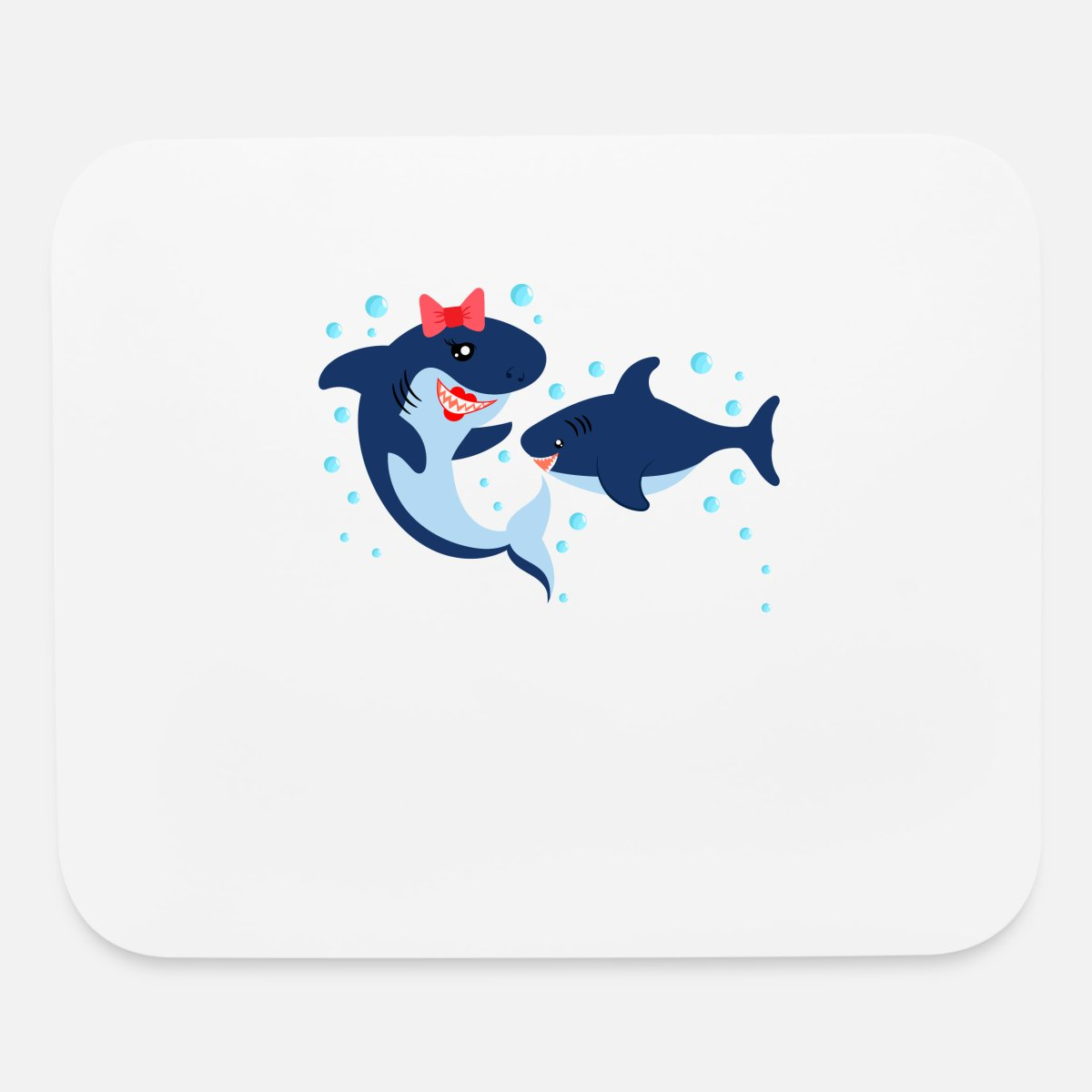 MOMMY of the SMALL SHARK Mouse pad Horizontal - white