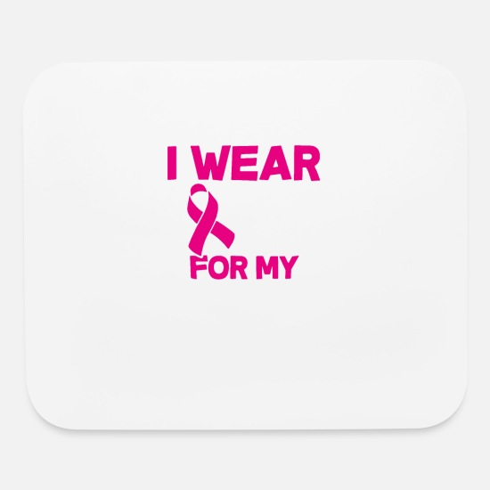 Teeing Off Mouse Pads - I Wear Pink For My Grandma Kids Youth Tee Breast C - Mouse Pad white