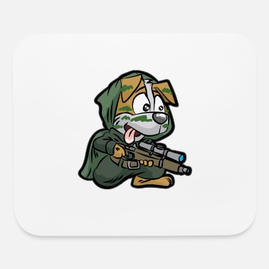 Sniper Rifle MILITARY DOG SNIPER Rifle Soldier Doggie funny - Mouse Pad
