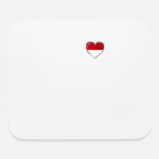 Indonesian Mouse Pads - I Love Indonesia Heartbeat Indonesian Pride Shirt - Mouse Pad white