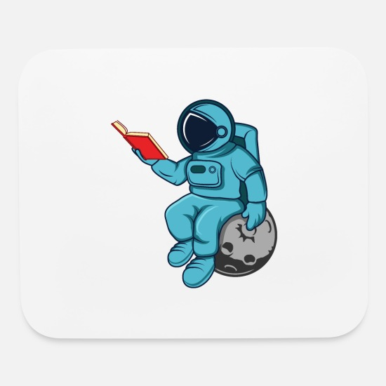Alien Mouse Pads - Funny Astronaut Read Book In Space Gift Science - Mouse Pad white
