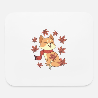 Fall Cat Leaf Fall cute cat with scarf - Mouse Pad