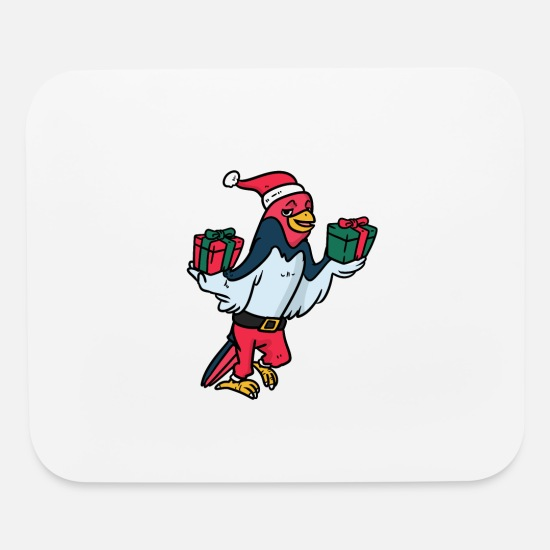 Santa Mouse Pads - Santa Bird's Wrapped Gifts - Mouse Pad white