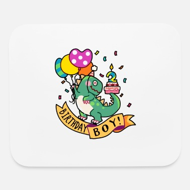 Birthday Boy T-Rex Dinosaur two 2 Gift - Mouse Pad