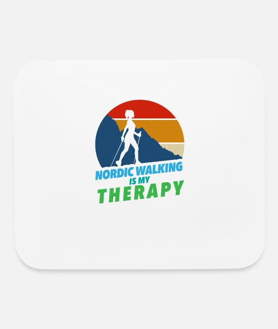 Sports Mouse Pads - Nordic Walking Hiking Therapy Walker Gift - Mouse Pad white