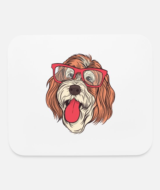 Professor Mouse Pads - Bernedoodle Dog With Glasses - Mouse Pad white
