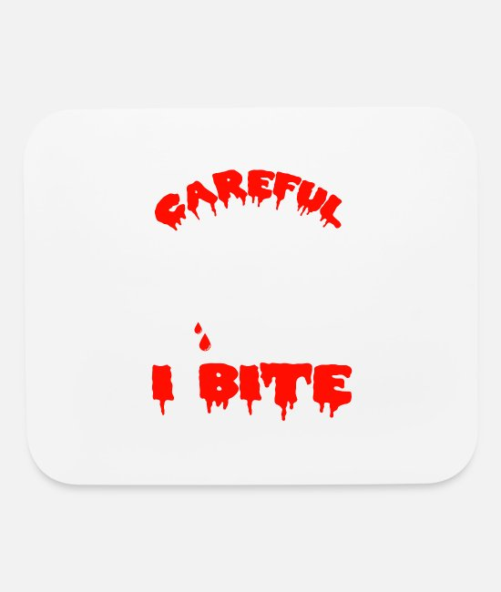 Horror Mouse Pads - Careful I Bite | Vampire Fangs - Mouse Pad white