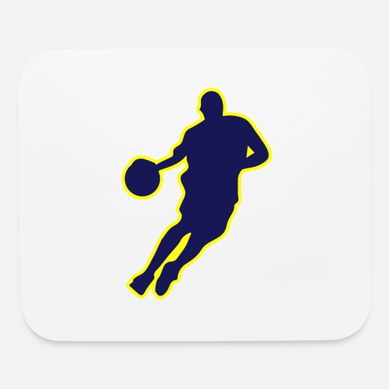 Basket Mouse Pads - Basketball Player Silhouette 3C - Mouse Pad white