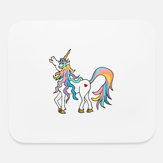 Magic Mouse Pads - Colourful unicorn with rainbow coloured tail - Mouse Pad white