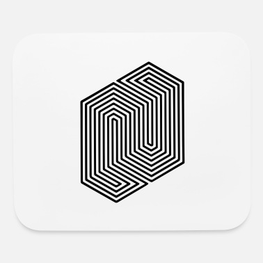 Meme Optical Illusion (Impossible Minimal B & W Lines) - Mouse Pad