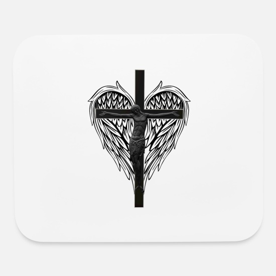 Cross Mouse Pads - Christian cross and wings - Mouse Pad white