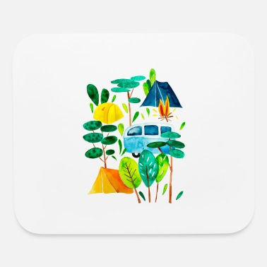Campground Campground and campfire, time for holidays - Mouse Pad