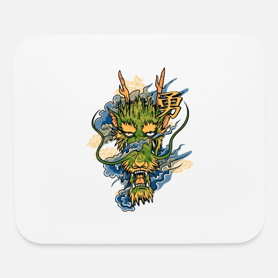 Head Mouse Pads - Japanese Dragon Head - Mouse Pad white