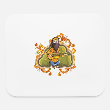 Hippy Hippie with guitar in nirvana vector cartoon image - Mouse Pad