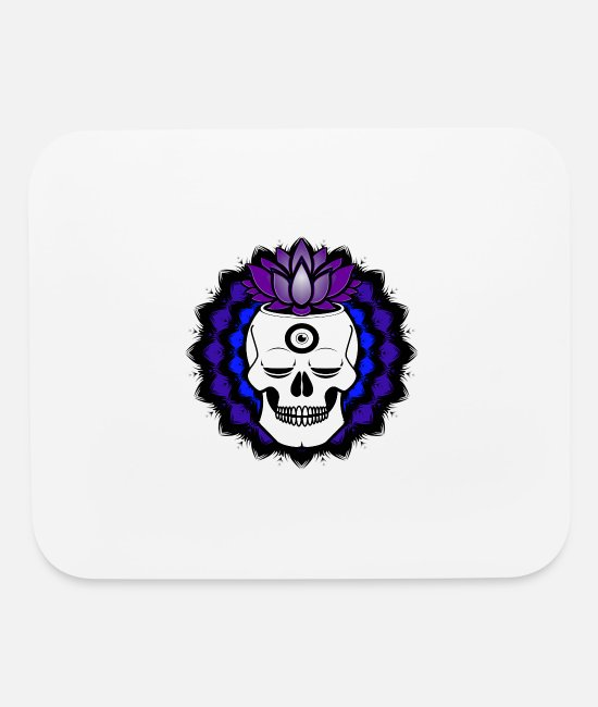 Buddha Mouse Pads - Buddha Skull with crown chakra and third eye open - Mouse Pad white