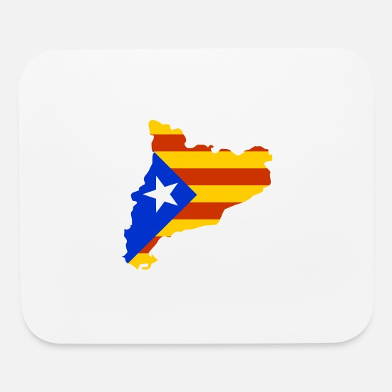 Barcelona Mouse Pads - Catalonia map with flag - Mouse Pad white