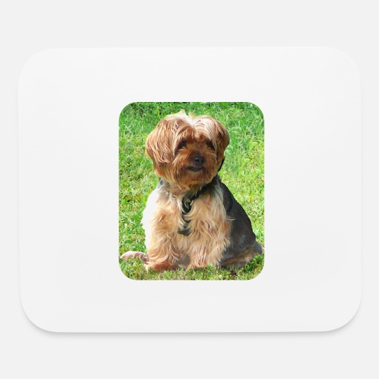 Yorkshire Mouse Pads - Yorkshire Terrier in Park - Mouse Pad white