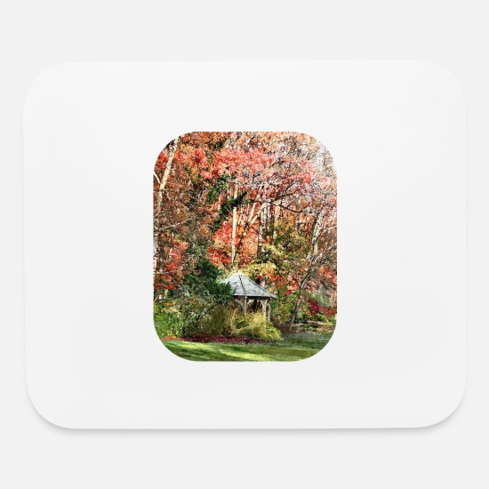 Red Mouse Pads - Gazebo in Autumn Garden - Mouse Pad white
