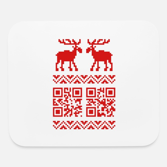 Novelty Mouse Pads - Ugly Christmas Sweater QR Code Happy New Year! - Mouse Pad white