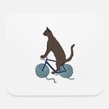 Bike cat riding bike with yarn ball wheels - Mouse Pad