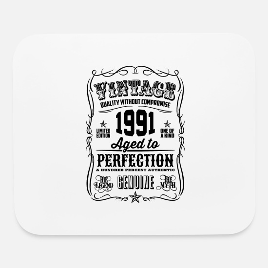 Birthday Mouse Pads - Vintage 1991 Aged to Perfection Black Print - Mouse Pad white