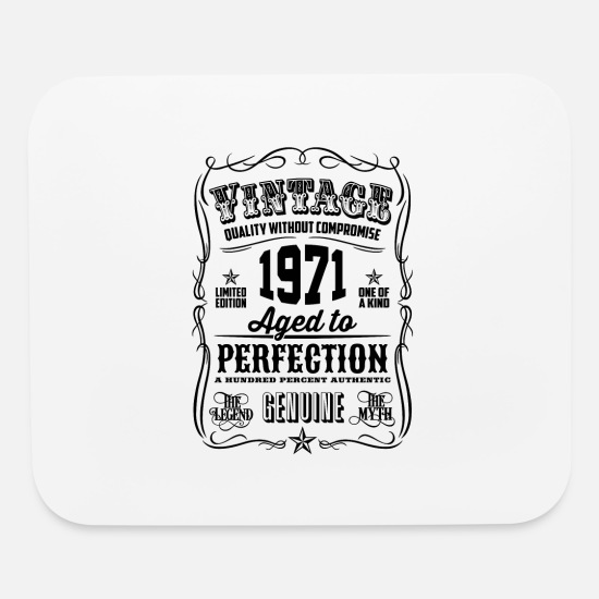 Legend Mouse Pads - Vintage 1971 Aged to Perfection Black Print - Mouse Pad white