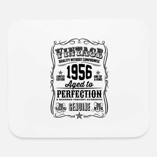1956 Mouse Pads - Vintage 1956 Aged to Perfection Black Print - Mouse Pad white