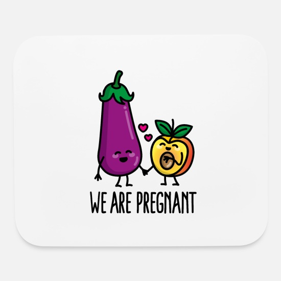 Pregnancy Mouse Pads - We are pregnant aubergine peach funny pregnancy - Mouse Pad white