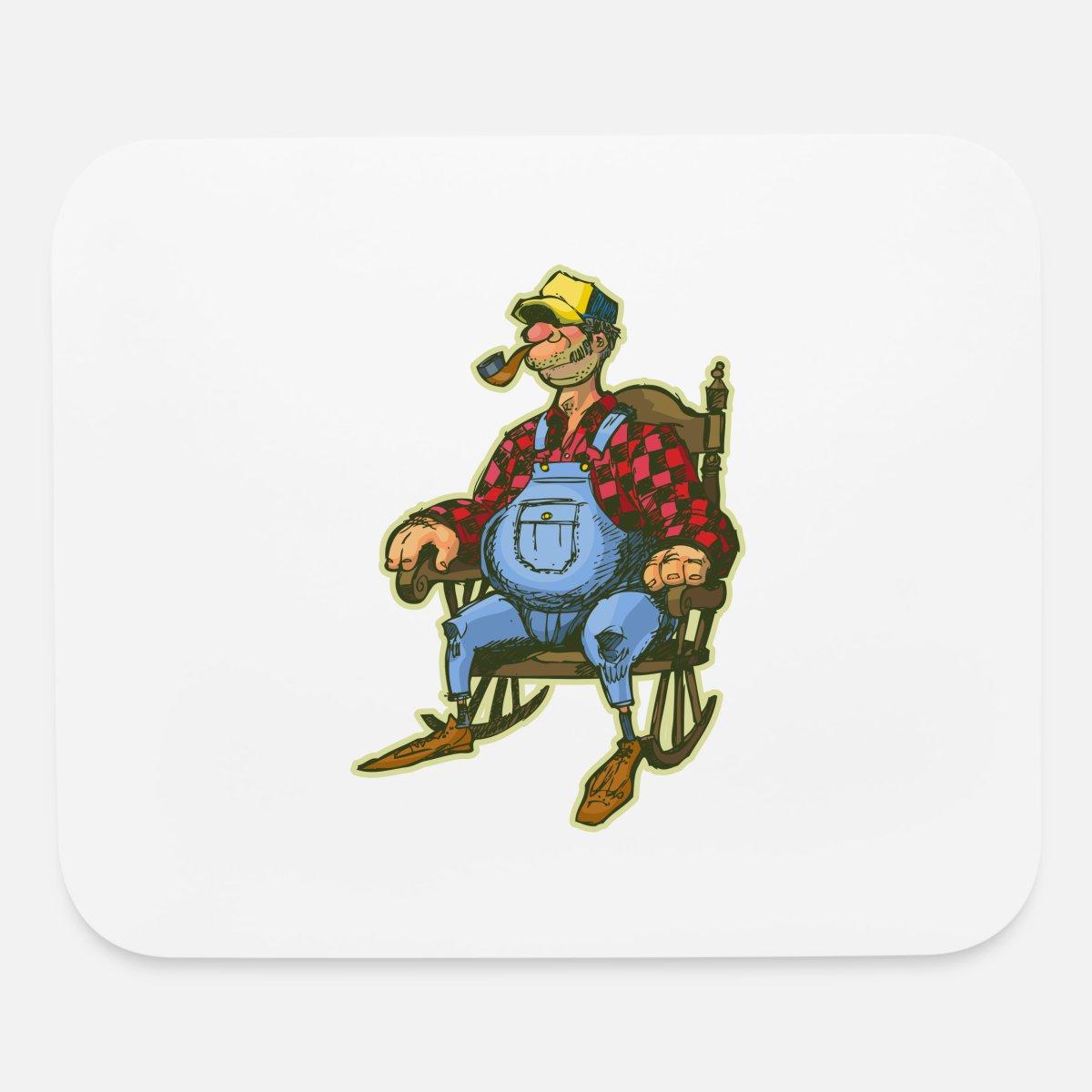 Rocking Chair Funny Cartoon Design Mouse Pad Horizontal White