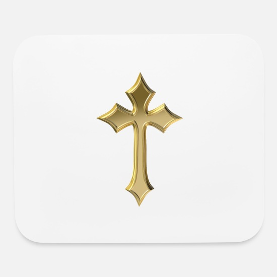 Christianity Mouse Pads - Golden Christian cross - Mouse Pad white