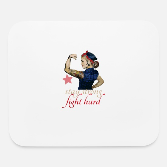 Strong Mouse Pads - stay strong fight hard tattoo - pinup Girl - Mouse Pad white