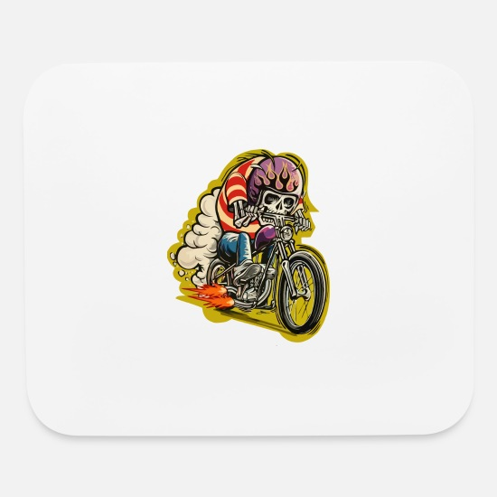 Motorcycle Mouse Pads - Skull riding a classic motorcycle - Mouse Pad white