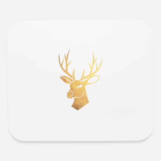 Stag Mouse Pads - gold deer - Mouse Pad white