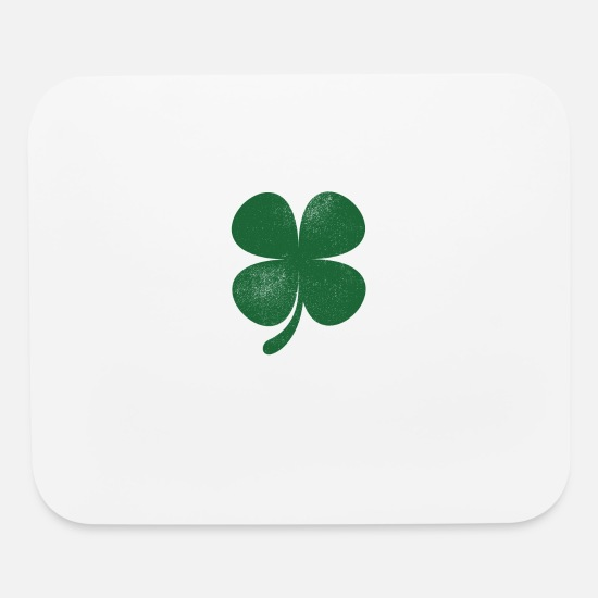 Day Mouse Pads - Distressed Green Four Leaf Clover Saint Patricks - Mouse Pad white