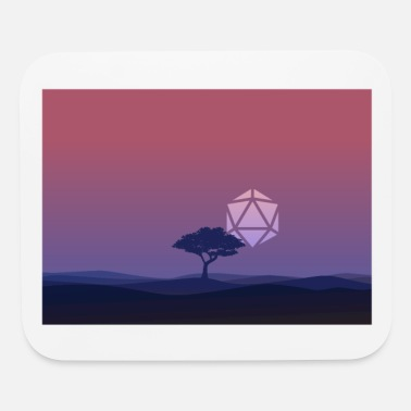 Landscape Lonely Tree Sunset D20 Dice Sun RPG Landscape - Mouse Pad