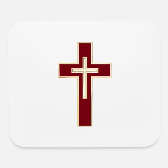 Christian Mouse Pads - Red Christian cross - Mouse Pad white