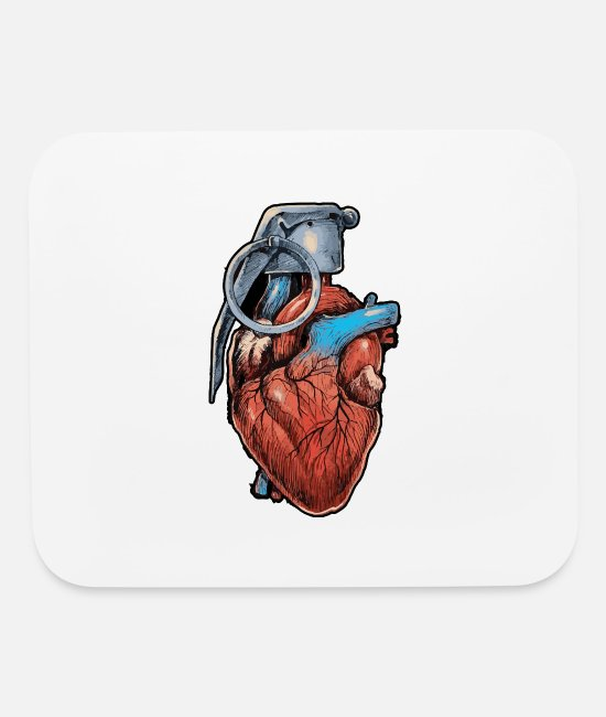 Training Mouse Pads - Grenade Heart - Exclusive Design - Limited Edition - Mouse Pad white