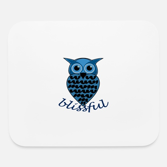 Night Owl Mouse Pads - owl cute blue blissful happy - Mouse Pad white