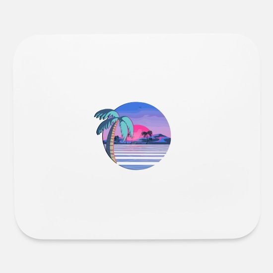 Aesthetic Mouse Pads - Vaporwave Beach - Mouse Pad white