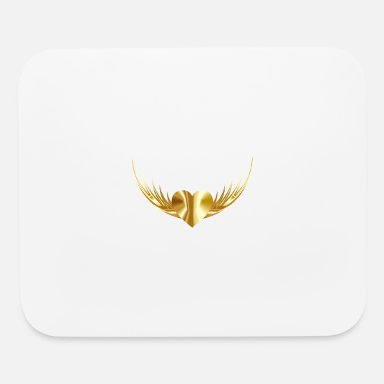 Love Mouse Pads - Gold Heart - Mouse Pad white