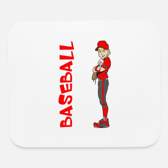 Baseball Mouse Pads - BASEBALL BOY PITCHER - Mouse Pad white