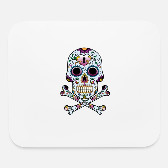 Skull Mouse Pads - Floral Sugar Skull Cross Bones - Mouse Pad white